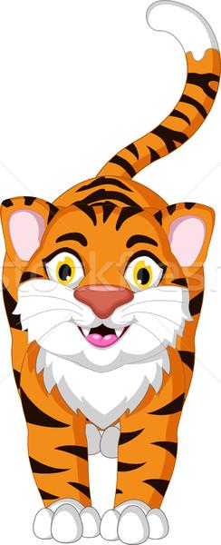 Cute tigre Cartoon posando feliz forestales Foto stock © jawa123