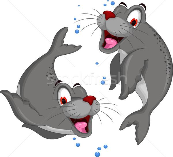 cute couple Seal cartoon Stock photo © jawa123