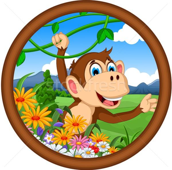 monkey cartoon hanging in frame Stock photo © jawa123
