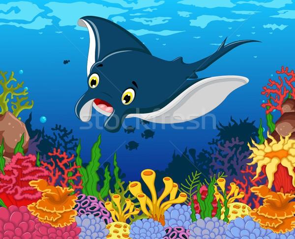 Stock photo: funny stingray cartoon with beauty sea life background