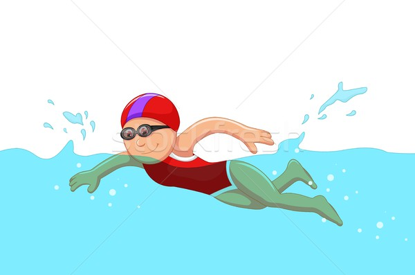 funny cartoon girl swimmer in the swimming pool Stock photo © jawa123