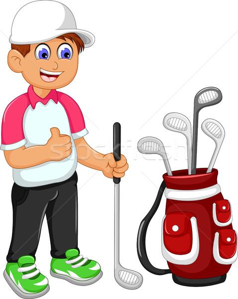 смешные человека Cartoon играет гольф большой палец руки Сток-фото © jawa123
