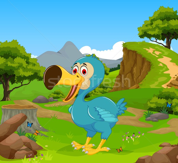 funny dodo bird cartoon in the jungle with landscape background Stock photo © jawa123