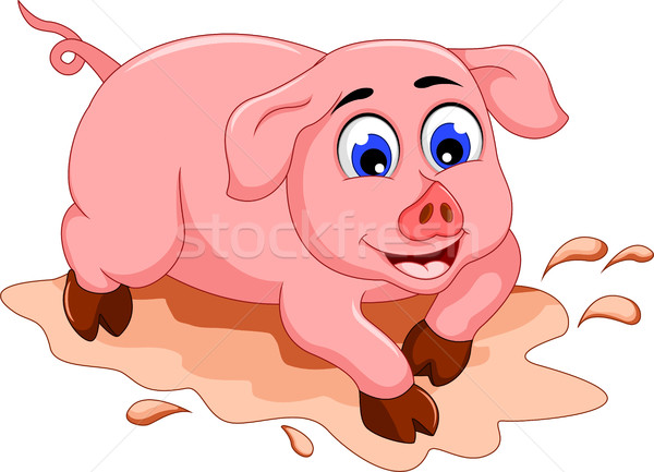 Stock photo: funny pig cartoon with mud puddle