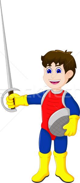 cute knight cartoon holding sword Stock photo © jawa123