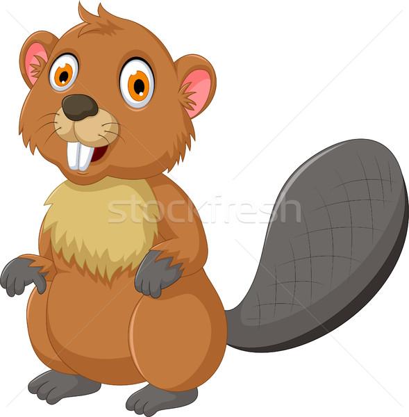 Stock photo: cute beaver cartoon posing