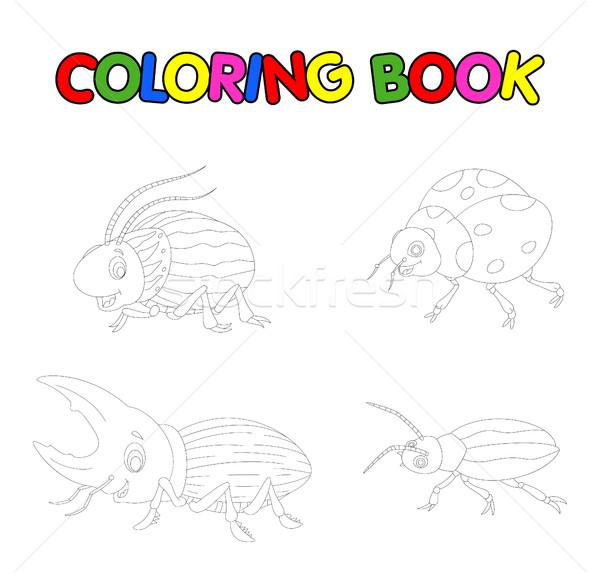 Kleurboek kever cartoon gelukkig grappig vliegen Stockfoto © jawa123