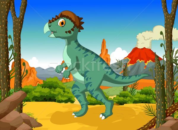 funny Dinosaur Stegoceras cartoon with forest landscape background Stock photo © jawa123