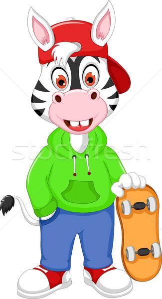 Drôle zèbre cartoon jouer skateboard chapeau Photo stock © jawa123