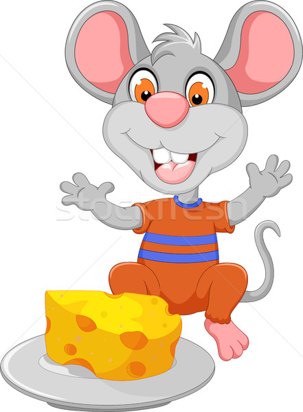 Drôle souris cartoon manger fromages dents Photo stock © jawa123