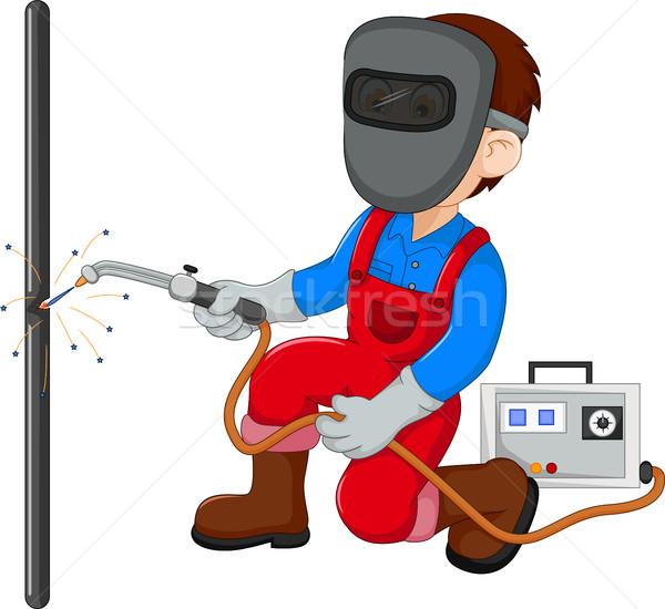 Cute lasser cartoon achtergrond werknemer kleur Stockfoto © jawa123