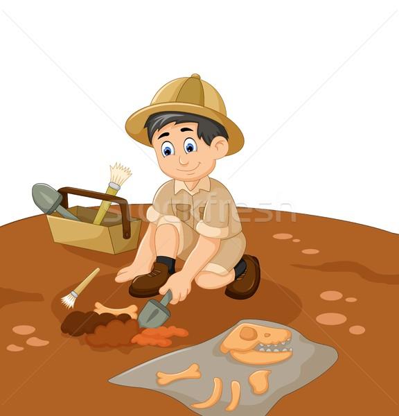 Bonitinho homem desenho animado fóssil projeto Foto stock © jawa123