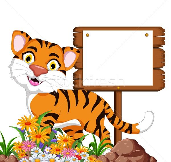 Cute tijger cartoon glimlach gelukkig Stockfoto © jawa123