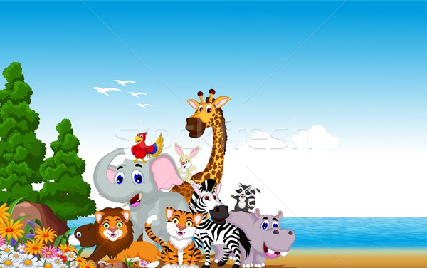 animal cartoon collection with beach background Stock photo © jawa123