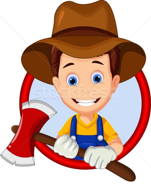 Favágó rajz keret fiú mosolyog csizma Stock fotó © jawa123