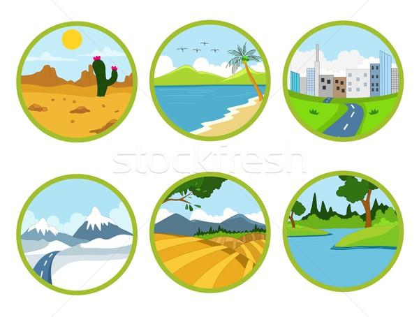 landscape cartoon set Stock photo © jawa123