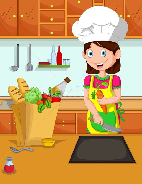 cute mom cartoon cooking in the kitchen Stock photo © jawa123