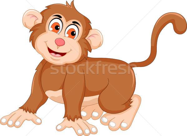 Cute обезьяны Cartoon позируют счастливым образование Сток-фото © jawa123