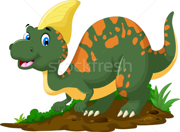 Stock photo: cute Dinosaur Parasaurolophus cartoon posing