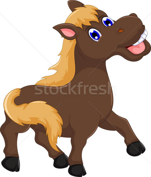 cute horse cartoon posing Stock photo © jawa123