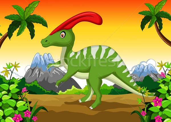 Dinosaur Parasaurolophus cartoon in the jungle Stock photo © jawa123