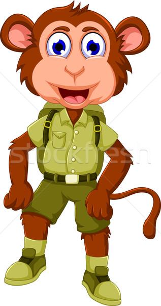 funny monkey cartoon with safari uniform Stock photo © jawa123