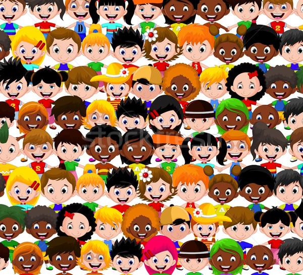 Feliz ninos Cartoon colección grupo diversión Foto stock © jawa123