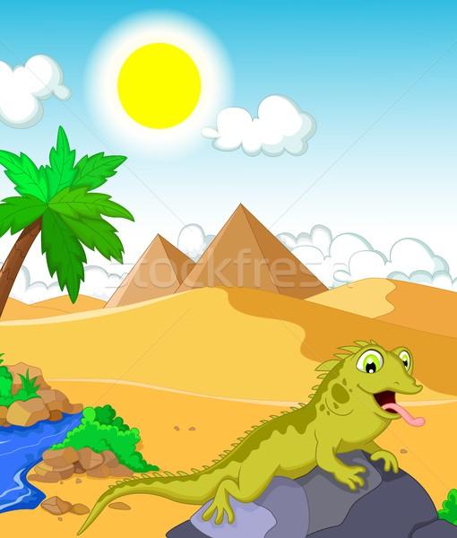 Gyík rajz sivatag piramis baba mosoly Stock fotó © jawa123