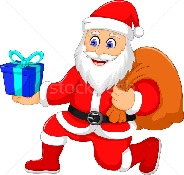 cute santa claus cartoon holding a gift Stock photo © jawa123