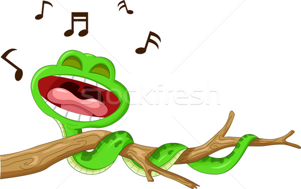 Serpiente Cartoon cantando verde diversión nota Foto stock © jawa123