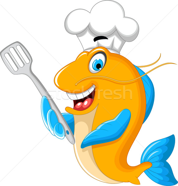 Cartoon chef fish holding a kitchen spatula for you design Stock photo © jawa123