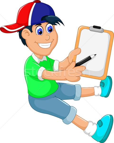 funny little boy cartoon showing his clip board Stock photo © jawa123