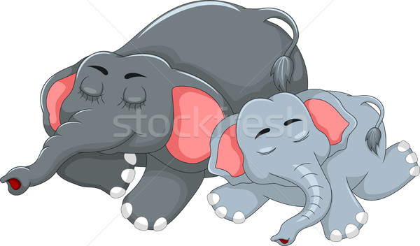 cute elephant cartoon sleeping with her baby Stock photo © jawa123
