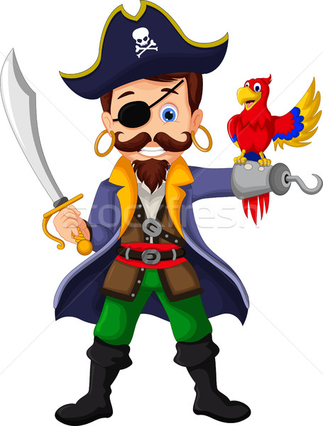 Foto stock: Desenho · animado · pirata · papagaios · sorrir · olho · mar