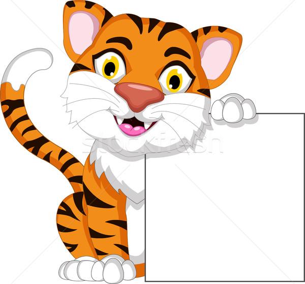 Cute tigre Cartoon posando forestales Foto stock © jawa123