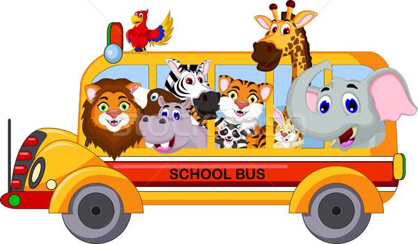 животного Cartoon школьный автобус области путешествия тигр Сток-фото © jawa123