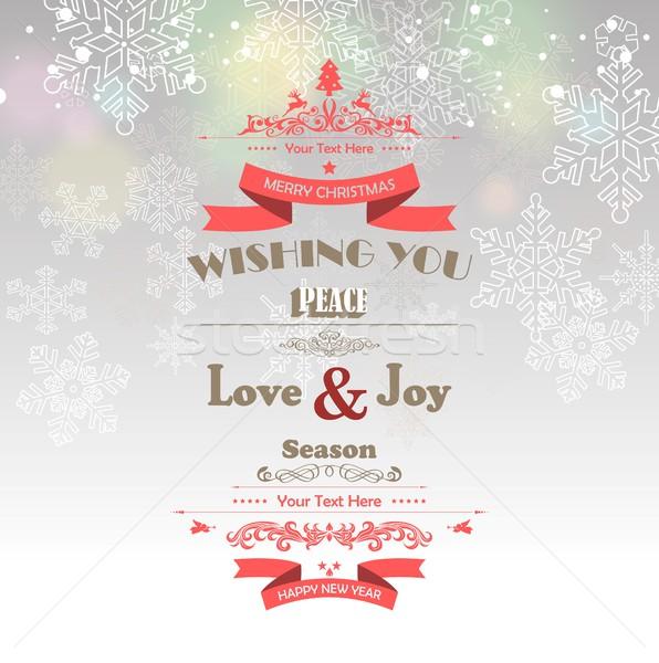 Vidám karácsony boldog új évet textúra tél piros Stock fotó © jawa123