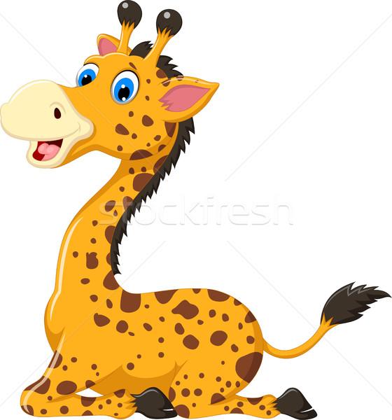 Cute giraffe cartoon vergadering glimlach leuk Stockfoto © jawa123