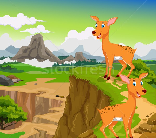 funny two deer cartoon with beauty mountain landscape background Stock photo © jawa123