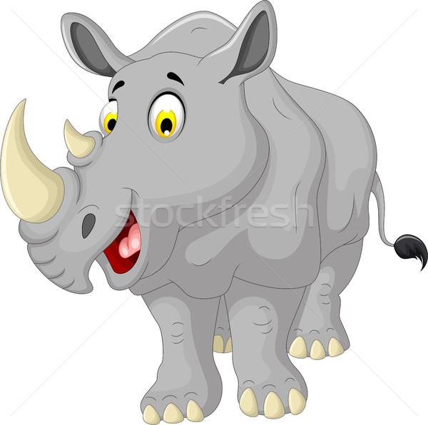 Cute neushoorn cartoon poseren baby glimlach Stockfoto © jawa123