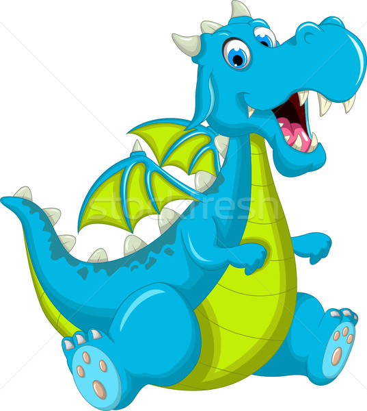 Stock photo: blue dragon cartoon sitting