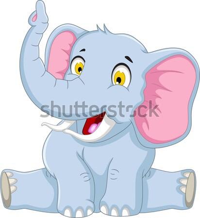 happy elephant cartoon sitting Stock photo © jawa123