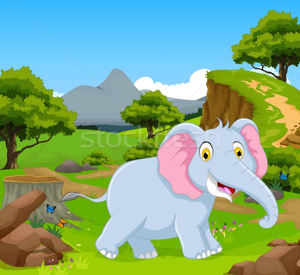 funny elephant in the jungle with landscape background Stock photo © jawa123