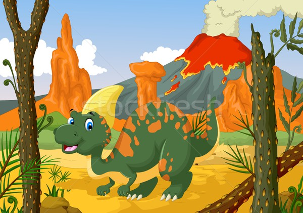 funny Parasaurolophus cartoon with forest landscape background Stock photo © jawa123