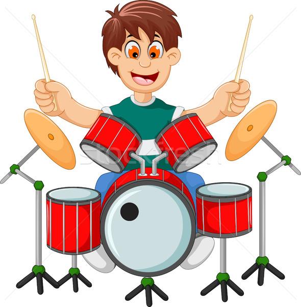 смешные мальчика Cartoon играет барабан древесины Сток-фото © jawa123