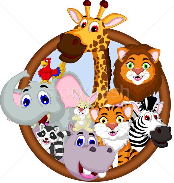 safari animal cartoon in frame Stock photo © jawa123