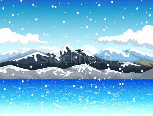 Belleza nieve montana diseno cielo árbol Foto stock © jawa123