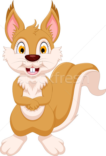 Cute ardilla Cartoon pie madera feliz Foto stock © jawa123