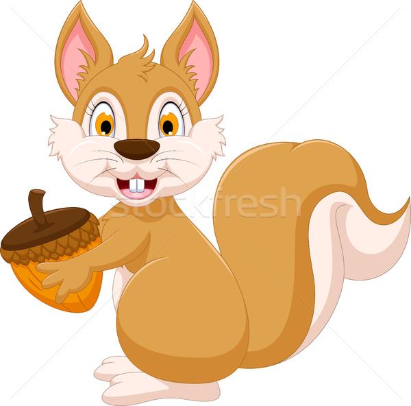 Aranyos mókus rajz tart mogyoró mosoly Stock fotó © jawa123