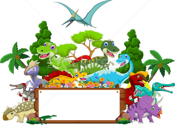 Dinosaur cartoon with landscape background and blank sign Stock photo © jawa123